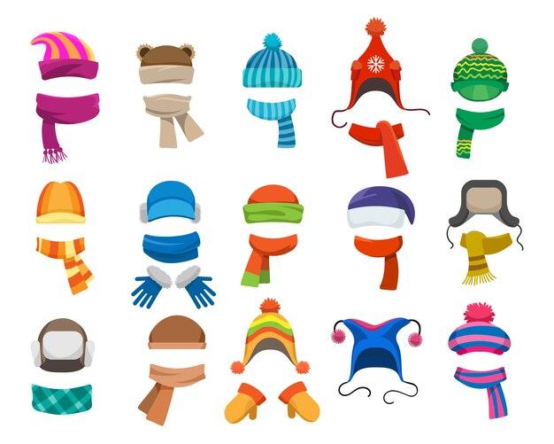 Collection de chapeaux d'hiver ou d'automne