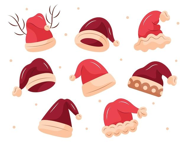 Collection de chapeaux de père noël dessinés à la main