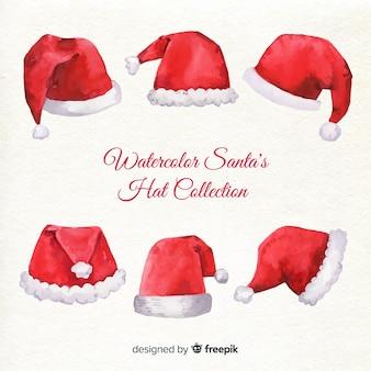 Collection de chapeaux de santa aquarelle