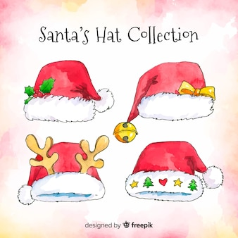 Collection de chapeaux de santa aquarelle