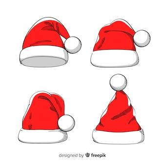 Collection de chapeaux de santa dessinés à la main