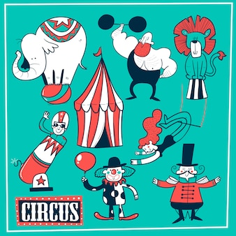 Collection de chapiteaux et de spectacles amusants - clown, homme fort, acrobates, trapéziste. illustration vectorielle en style cartoon.