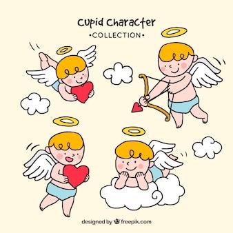 Collection de charactères cupidon dessinés à la main