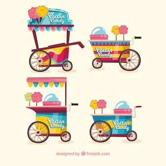 Collection de chariots à bonbons en coton coloré