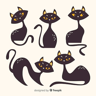 Collection de chat d'halloween au design plat