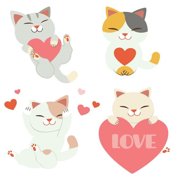 La collection de chat mignon jouant avec coeur dans un style plat.