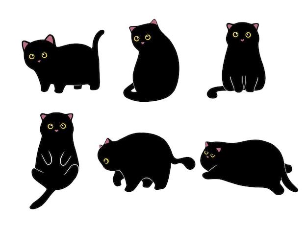 Collection de chat noir dessiné à la main