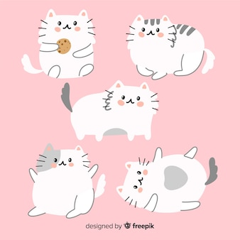 Collection de chats adorables dessinés à la main