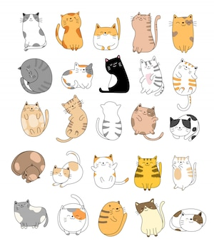 Collection de chats bébé dessinés à la main