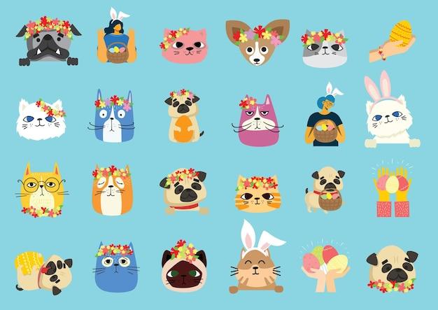 Collection de chats et de chiens avec des fleurs printanières et des oreilles de lapin. concept de pâques