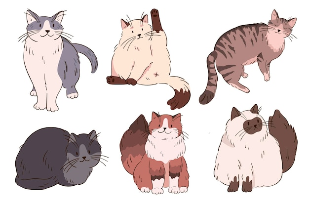 Collection de chats colorés. chatons moelleux de dessin animé. collection d'illustrations vectorielles de chatons.