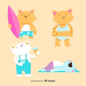 Collection de chats d'été plat