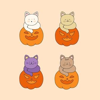Collection de chats halloween dessinés à la main