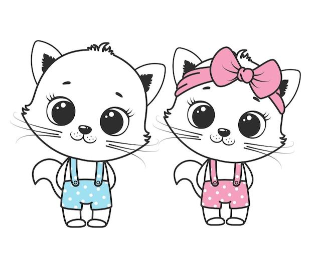 Une collection de chats mignons de bande dessinée pour une fille et un garçon. dessin de contours.