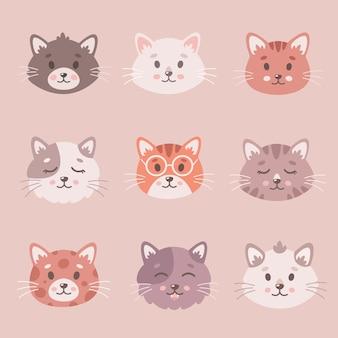 Collection de chats mignons les chats font face aux animaux de compagnie chatons animaux mignons