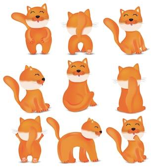 Collection de chats mignons dans différentes poses