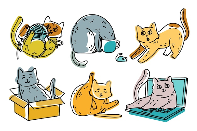 Collection de chats mignons dessinés à la main