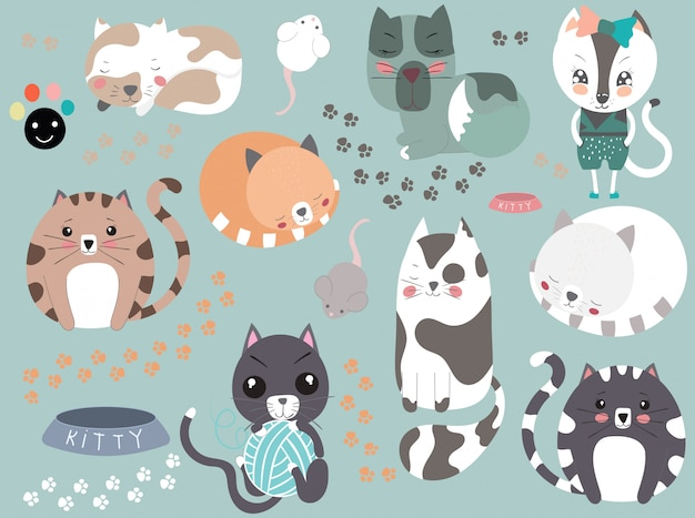 Collection de chats mignons