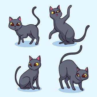 Collection de chats noirs halloween dessinés à la main