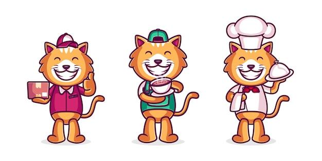 Collection de chats avec une profession différente