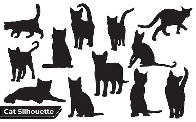 Collection de chats silhouette dans différentes positions