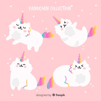 Collection de chats de style licorne kawaii