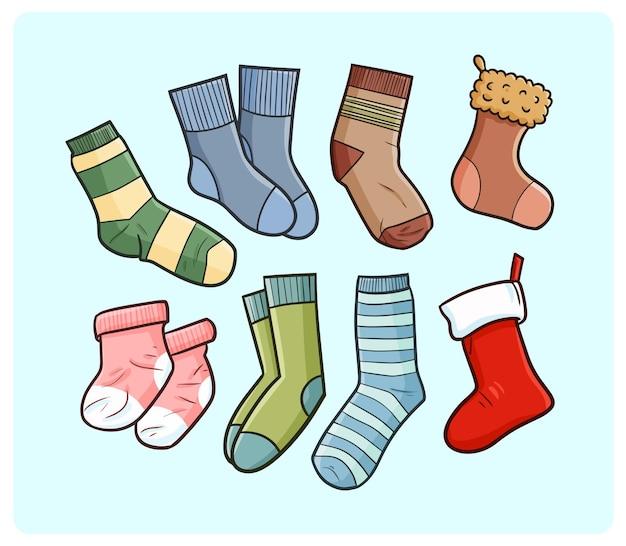 Collection de chaussettes drôles dans un style simple doodle