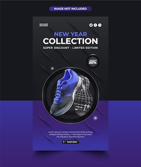 Collection de chaussures de nouvel an instagram post design