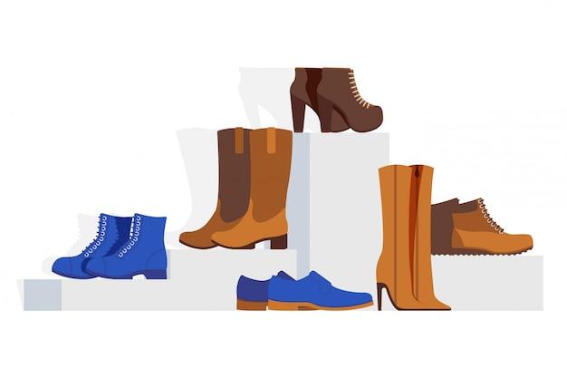 Collection de chaussures de type différent pour femmes, illustration. vitrine de chaussures en ligne, talons aiguilles, bottines, bottes western