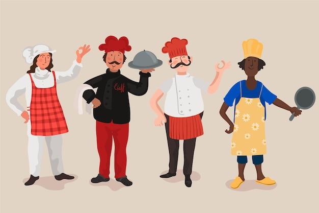 Collection De Chef Cuisinier Vecteur gratuit