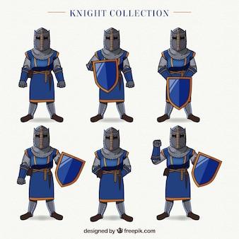 Collection de chevaliers dessinés à la main dans différentes poses