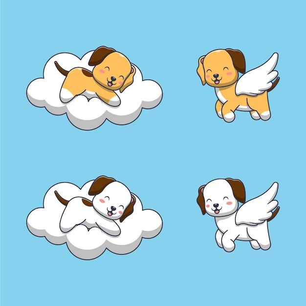 Collection de chien mignon. style de dessin animé plat