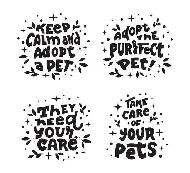 La collection de chiens et de chats avec des citations sur les soins aux animaux de compagnie adopte un animal de compagnie aujourd'hui