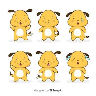 Collection de chiens dessinés à la main kawaii