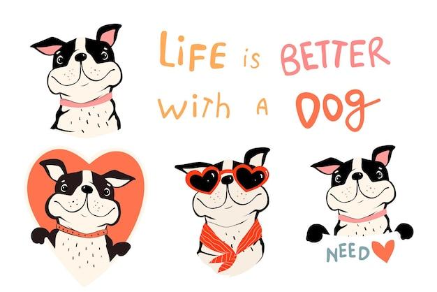 Collection de chiens mignons, bouledogue français ou carlin avec citation et pancarte. symboles d'amoureux des animaux avec des formes de coeur. clipart vectoriel amusant dans un style plat simple pour les amoureux des chiens.