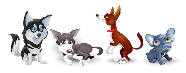 Collection avec des chiens mignons de différentes races. ensemble de chiens drôles, sur fond blanc. animaux à fourrure amis humains à la maison.