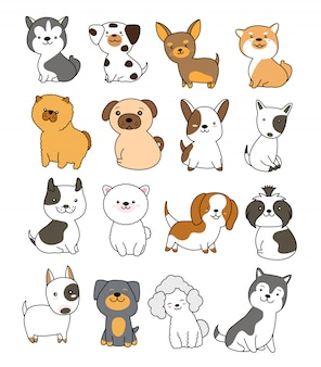 Collection de chiens mignons style dessiné à la main