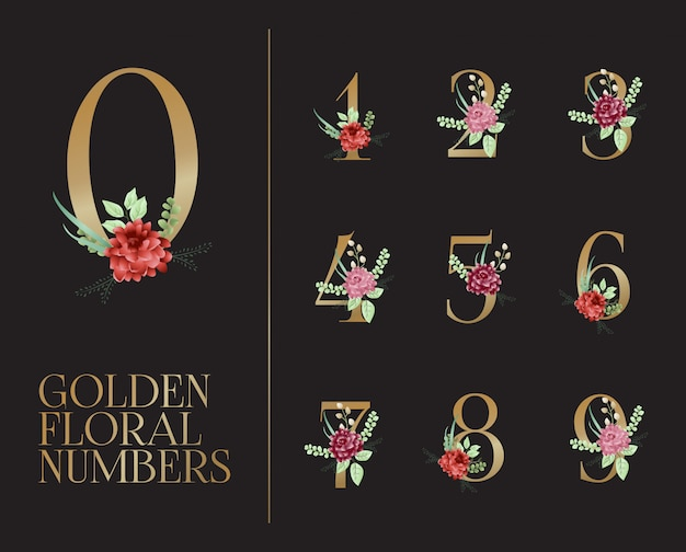 Collection de chiffres floraux dorés