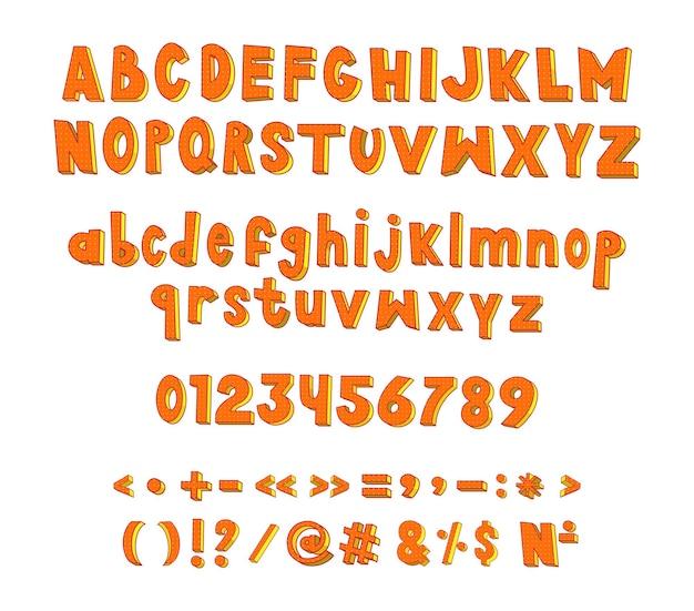 Collection de chiffres de lettres latines et de signes de ponctuation