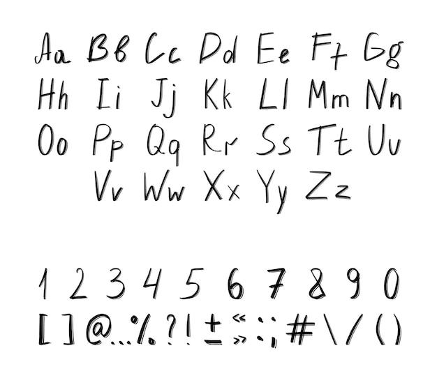 Collection de chiffres de lettres texturées et de signes de ponctuation