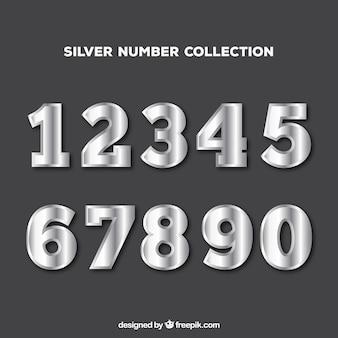 Collection de chiffres avec style argent