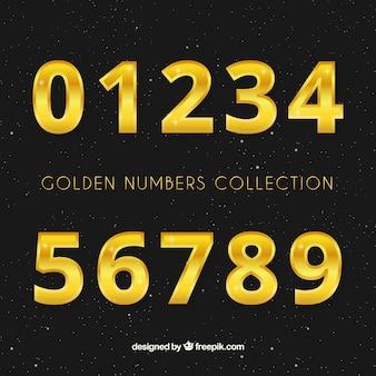 Collection de chiffres avec un style doré