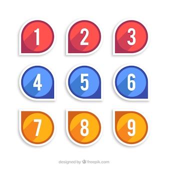 Collection de chiffres en trois couleurs