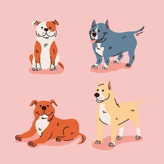 Collection de chiots pitbull de dessin animé