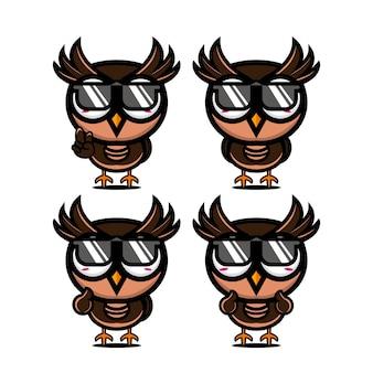 Collection chouette d'été mignon définit la mascotte de personnage de dessin animé de style plat vector illustration