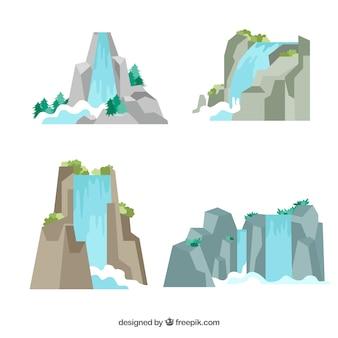 Collection de chutes d'eau en style cartoon