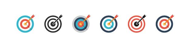 Collection de cibles vectorielles. icônes vectorielles cible, isolées. cible une conception différente. cible de couleur. illustration vectorielle
