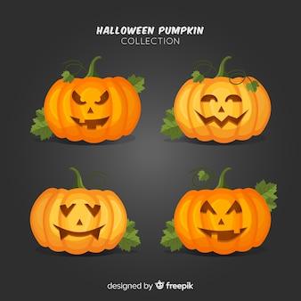 Collection de citrouille d'halloween avec un design plat
