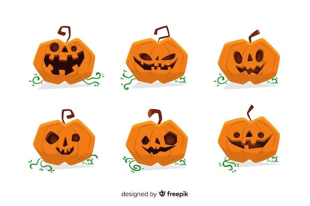 Collection de citrouille d'halloween dessinée à la main