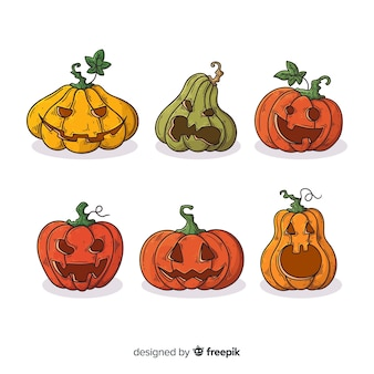 Collection de citrouille d'halloween dessinée à la main